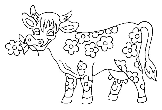Coloriage et dessins gratuits La vache fleuri à imprimer