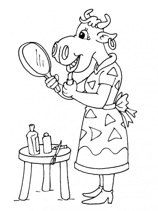 Coloriage et dessins gratuits La vache se maquille à imprimer