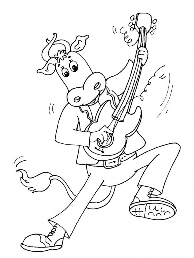 Coloriage et dessins gratuits Un taureau joue de la guitare à imprimer