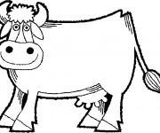 Coloriage Vache au crayon