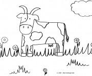 Coloriage Vache avec des cornes bizarres