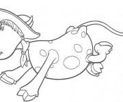 Coloriage Vache avec un chapeau sur la tête