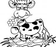 Coloriage Vache contente