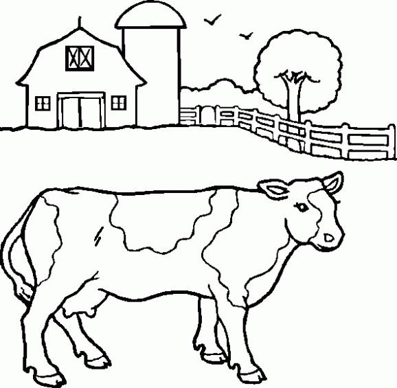 Coloriage et dessins gratuits Vache dans la ferme à imprimer