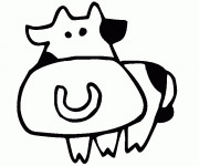 Coloriage et dessins gratuit Vache dessin pour enfant à imprimer
