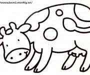 Coloriage Vache en baissant la tête