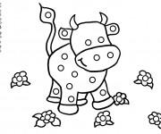 Coloriage et dessins gratuit Vache et fleurs à imprimer