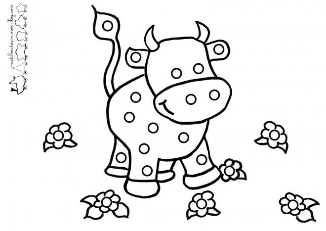 Coloriage vache et fleurs dessin gratuit imprimer - Vache dessin facile ...
