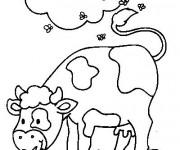 Coloriage Vache et mouches