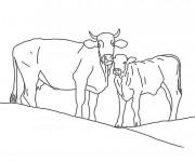 Coloriage et dessins gratuit Vache et son veau à imprimer