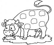 Coloriage et dessins gratuit Vache mange à imprimer