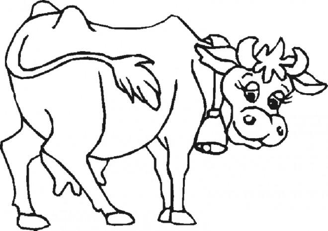 Coloriage Vache Portant Clochette Dessin Gratuit à Imprimer