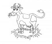 Coloriage Vache qui broute