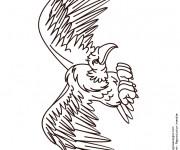 Coloriage Vautour ouvrant ses ailes