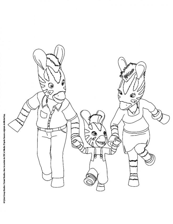Coloriage et dessins gratuits Famille de Zèbre Zou à imprimer