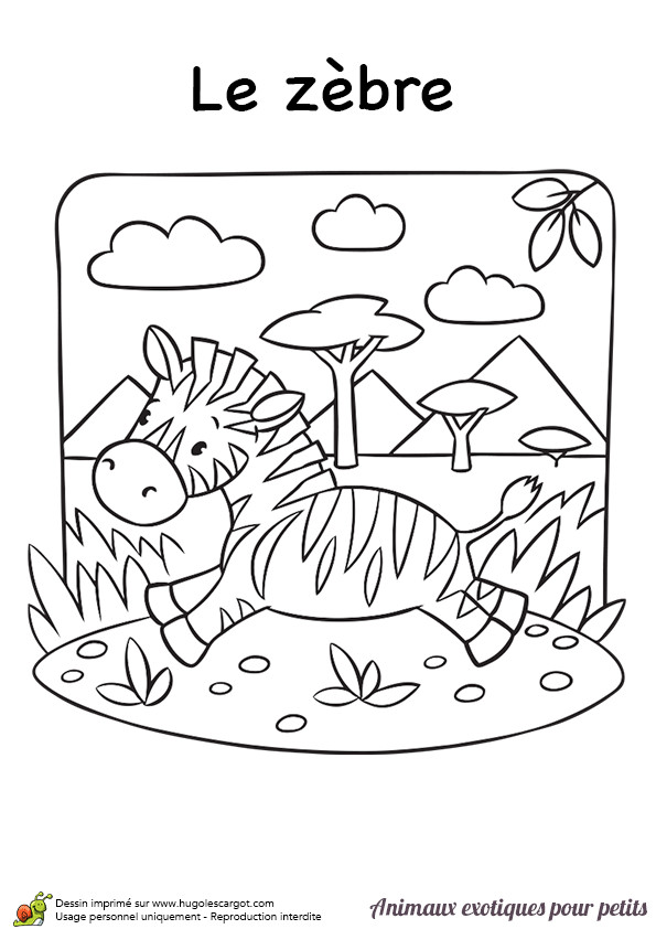 Coloriage et dessins gratuits Paysage d'un Zèbre dans la nature à imprimer