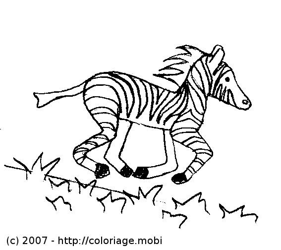 Coloriage et dessins gratuits Zèbre en courant à imprimer