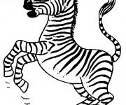 Coloriage Zebre en train de sauter