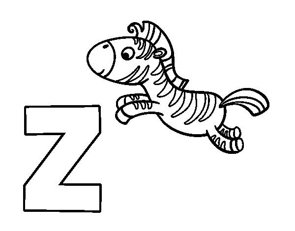 Coloriage et dessins gratuits Zèbre et Alphabet à imprimer