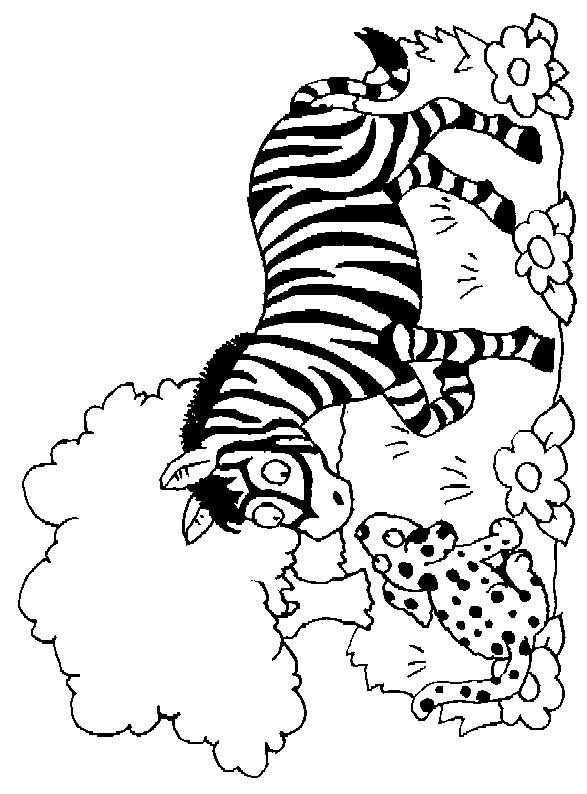 Coloriage et dessins gratuits Zèbre et chien à imprimer