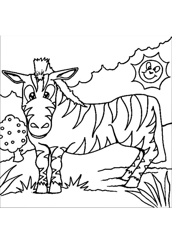 Coloriage et dessins gratuits Zèbre et jour ensoleillé à imprimer