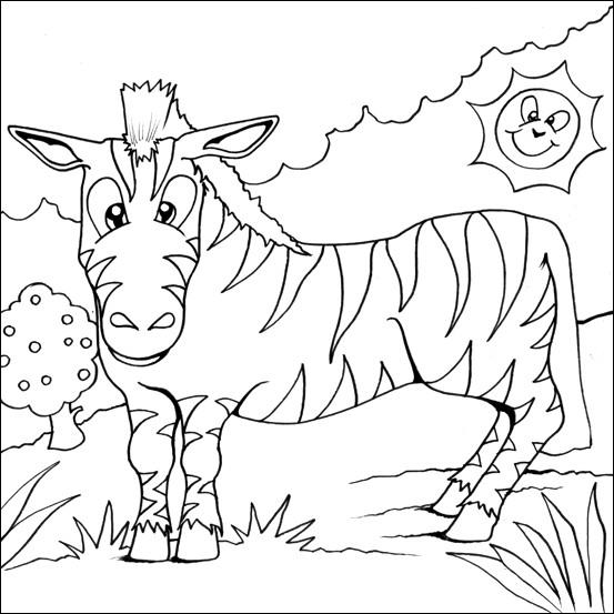 Coloriage et dessins gratuits Zèbre et soleil à imprimer