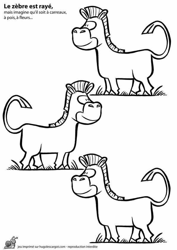 Coloriage et dessins gratuits zèbres sans rayure à imprimer