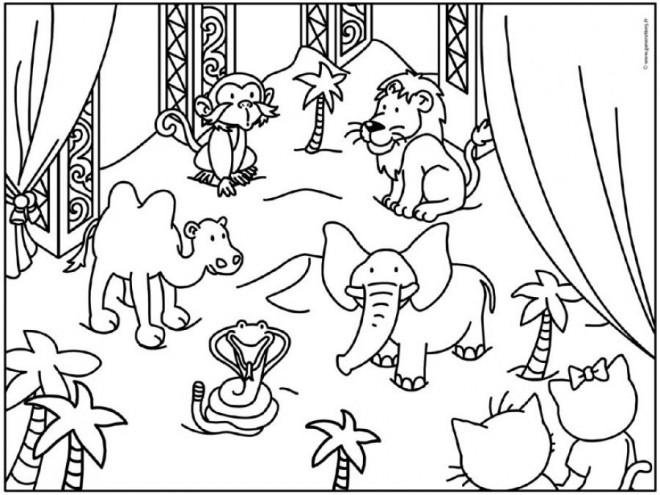 Coloriage et dessins gratuits Animaux de Zoo dessin animé à imprimer