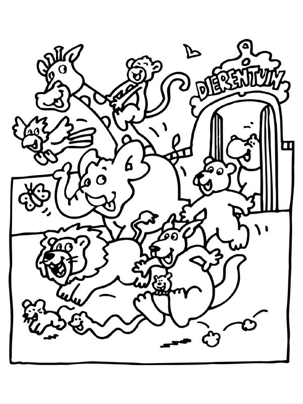 Coloriage et dessins gratuits Animaux s'enfuient du Zoo à imprimer