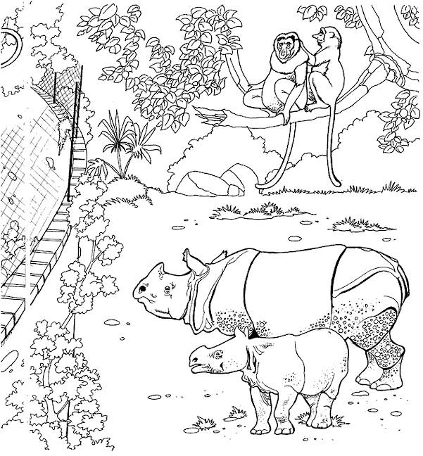 Coloriage et dessins gratuits clôture de Zoo à imprimer