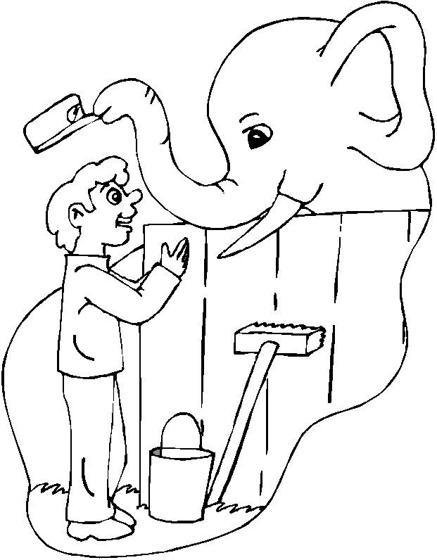 Coloriage et dessins gratuits Eléphant et le petit enfant à imprimer