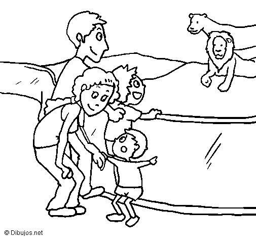 Coloriage et dessins gratuits La famille au Zoo à imprimer