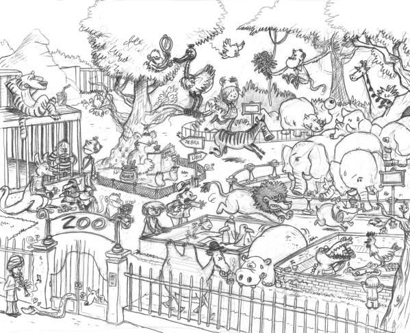 Coloriage et dessins gratuits le chaos qui règne au Zoo à imprimer