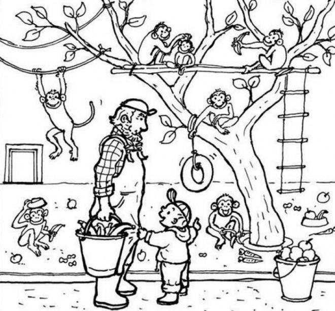 Coloriage et dessins gratuits Les singes imprudents à imprimer