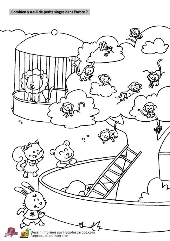 Coloriage et dessins gratuits Singes dans l'arbre à imprimer