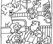 Coloriage et dessins gratuit Zoo et visiteurs à imprimer