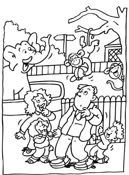 Coloriage Zoo et visiteurs dessin gratuit à imprimer