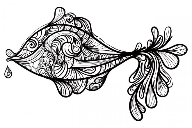 Coloriage et dessins gratuits Abstrait Poisson Art à imprimer