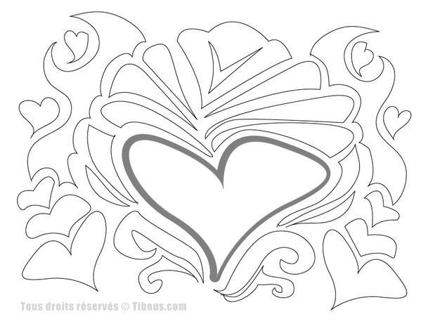 Coloriage et dessins gratuits Abstrait Coeur à imprimer