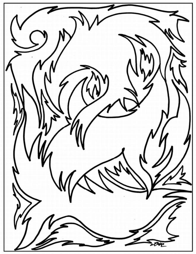 Coloriage et dessins gratuits Abstrait Flammes à imprimer