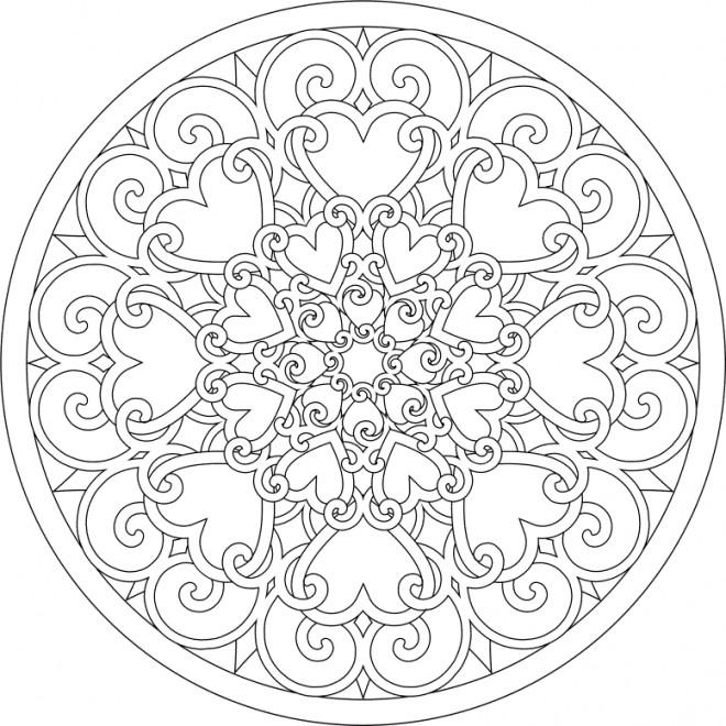 Coloriage et dessins gratuits Abstrait Mandala Coeurs à imprimer
