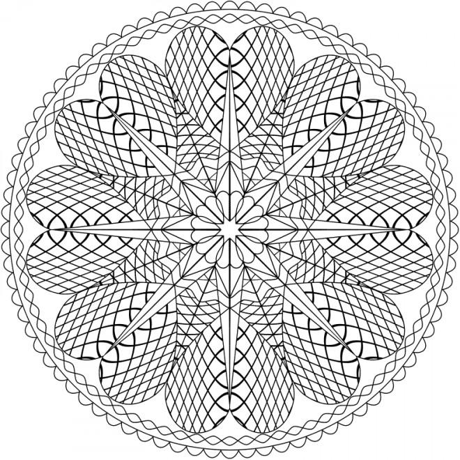 Coloriage De Mandala Damour A Imprimer.Coloriage Abstrait Mandala Coeurs Et Amour Dessin Gratuit A Imprimer