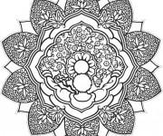 Coloriage Abstrait mandala en noir et blanc