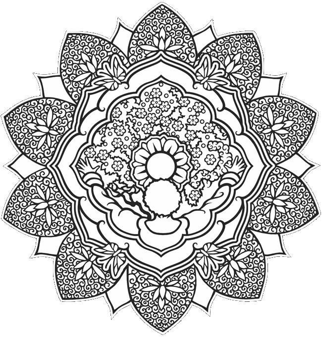 Coloriage et dessins gratuits Abstrait mandala en noir et blanc à imprimer