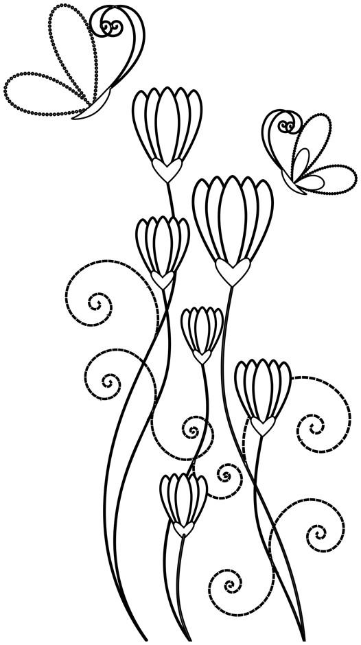 Coloriage et dessins gratuits Abstrait Papillon et Fleur à imprimer