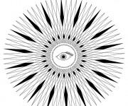 Coloriage Abstrait Soleil et L'oeil