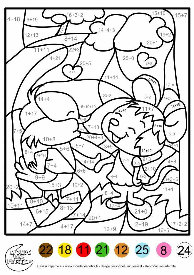 Coloriage et dessins gratuits Addition magique animaux à décorer à imprimer