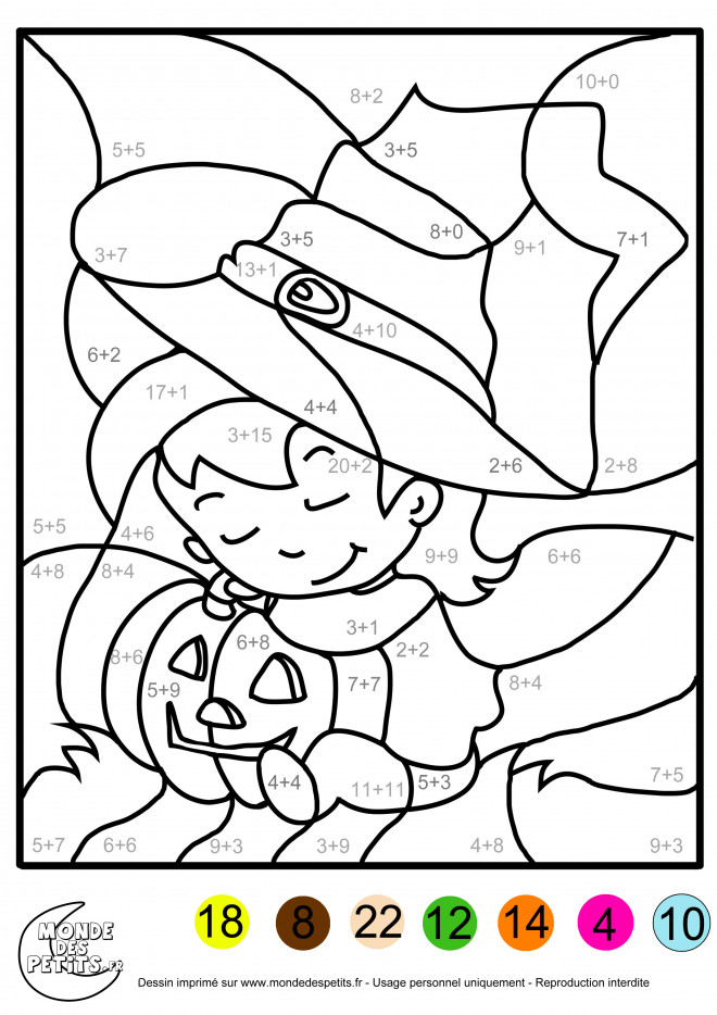 Coloriage et dessins gratuits Addition Halloween à imprimer