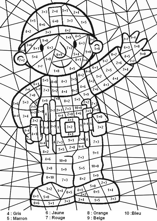 Coloriage et dessins gratuits Addition magique bricoleur à imprimer