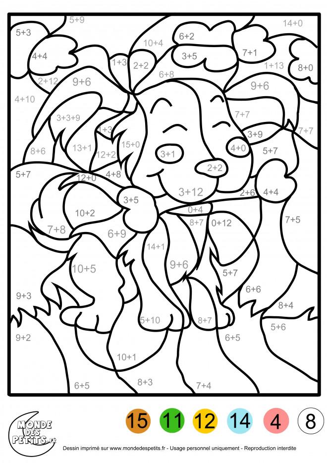 Coloriage et dessins gratuits Addition magique chien en couleur à imprimer